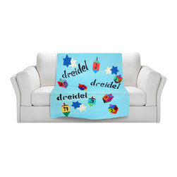 DiaNoche Designs - Throw Blanket Fleece - Jackie Phillips Good Dreidels - Original Artwork printed to an ultra soft fleece Blanket for a unique look and feel of your living room couch or bedroom space.  DiaNoche Designs uses images from artists all over the world to create Illuminated art, Canvas Art, Sheets, Pillows, Duvets, Blankets and many other items that you can print to.  Every purchase supports an artist!