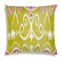 5 Surry Lane - Green and Pink Silk Ikat Pillow - Bring a dash of worldly appeal to your room.  Exquisitely woven by artisans, it will brighten any space with its vivid pattern and exotic vibe.  Same ikat pattern on both front and back.  Hidden zipper closure.  Made in Uzbekistan.  Down/feather insert.