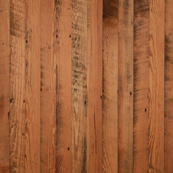 Longleaf Lumber - Factory Southern Yellow Pine Flooring - Remilled from Heart Pine factory flooring salvaged from an 1800s Massachusetts paper mill.  New tongue-and-groove milling and a fresh face.  Character: Rustic!  There is a top nail pattern every 18″ and a smattering of smaller nail holes at random across the surface.  Color ranges from vibrant yellow to dark umber – generally reddish amber.