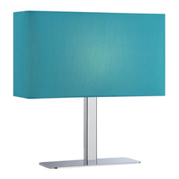 Lite Source - Lite Source Levon Transitional Table Lamp XSL-ULB/C79712 - The beautiful blue coloring of the rectangular fabric shade, which features rounded corners, ensures that this Lite Source table lamp will add a pop of color to any setting. From the Levon Collection, the Chrome finish highlights the clean lines and simple, minimalist style of the frame.