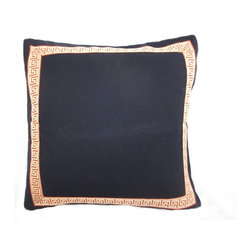 5 Surry Lane - Designer Navy Orange Greek Key Trim Pillow Cover - Do not underestimate the importance of a great pillow.  Both classic and modern, this pillow boasts sophisticated style.  Reverses to solid.  Hidden zipper closure.  Made in the USA.  Down feather insert included.  Can ship together.