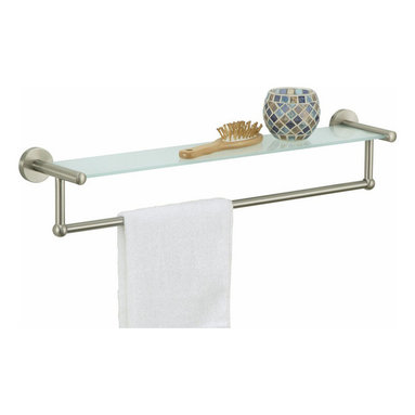 """Organize It All Inc. - Glass Shelf With Towel Bar - Satin Nickel - Lets face it: there is just never enough space on a vanity for all the things weve come to enjoy in our bathrooms.  So add a little extra space for those needs and wants with a wall mounting vanity shelf.  Installation hardware included.  Satin Nickel or Oil Rubbed Bronze Finish. Dimensions: 22.25""""W x 4.75""""D x 4.5""""H"""