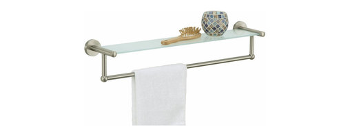 "Organize It All Inc. - Glass Shelf With Towel Bar - Satin Nickel - Lets face it: there is just never enough space on a vanity for all the things weve come to enjoy in our bathrooms.  So add a little extra space for those needs and wants with a wall mounting vanity shelf.  Installation hardware included.  Satin Nickel or Oil Rubbed Bronze Finish. Dimensions: 22.25""W x 4.75""D x 4.5""H"