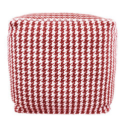 BrandWave - Houndstooth Pouf, Square, Red - This square pouf is more than just a beautiful piece of decor. Its soft yet sturdy filling makes it a comfortable seat for one, as well as an ottoman.