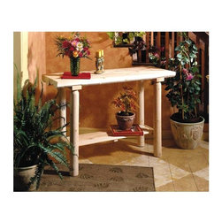 """Rustic Cedar - Cedar Sofa/Patio Plant Holder Table - The Cedar Sofa/Patio Plant Holder Table is a gardener's dream come true, allowing for the attractive display of fine potted plants on your deck or patio.  Fine craftsmanship using durable cedar wood ensures lasting beauty, season after season. * The Cedar Sofa/Patio Plant Holder Table is a gardener's dream come true, allowing for the attractive display of fine potted plants on your deck or patio.. Fine craftsmanship using durable cedar wood ensures lasting beauty, season after season.. 47""""L x 16""""W x 30""""H"""