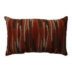 None - Pillow Perfect Kasuri Tangerine Rectangular Throw Pillow - Add the perfect blend of style and comfort to any space with this rectangular rust and brown contemporary ikat throw pillow from Pillow Perfect. Sophisticated knife edges and a lovely cotton cover complete the design of this decorative pillow.