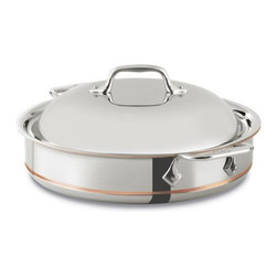 All-Clad - All-Clad Copper Core 3 qt. Sauteuse Pan w/Lid(640318) - The All-Clad Copper-Core 3 quart sauteuse has tall, straight sides and a wide construction that make it perfect for deep frying, reducing sauces, and searing meat.