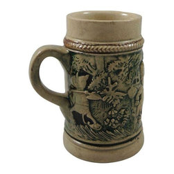 Pre-owned Sweet 1890 German Children's Fable Mug - Sweet 1890 German Children's Fable Mug or Beer Stein.  There are no markings although it looks like Metlox.  Great Condition for age. We do not know what the fable is, but it features raised animals in clothing. Beige and green/blue in color.