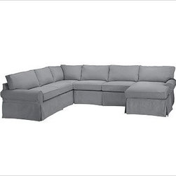 """PB Basic Left 4-Piece Chaise Sectional Slipcover, Twill Metal Gray - Designed exclusively for our PB Basic Sectional, these easy-care slipcovers have a casual drape, retain their smooth fit, and remove easily for cleaning. Select """"Living Room"""" in our {{link path='http://potterybarn.icovia.com/icovia.aspx' class='popup' width='900' height='700'}}Room Planner{{/link}} to select a configuration that's ideal for your space. This item can also be customized with your choice of over {{link path='pages/popups/fab_leather_popup.html' class='popup' width='720' height='800'}}80 custom fabrics and colors{{/link}}. For details and pricing on custom fabrics, please call us at 1.800.840.3658 or click Live Help. All slipcover fabrics are hand selected for softness, quality and durability. {{link path='pages/popups/sectionalsheet.html' class='popup' width='720' height='800'}}Left-arm or right-arm configuration{{/link}} is determined by the location of the arm on the love seat as you face the piece. This is a special-order item and ships directly from the manufacturer. To view our order and return policy, click on the Shipping Info tab above."""