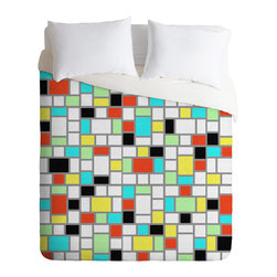 DENY Designs - Jacqueline Maldonado Geo Square Duvet Cover - Turn your basic, boring down comforter into the super stylish focal point of your bedroom. Our Luxe Duvet is made from a heavy-weight luxurious woven polyester with a 50% cotton/50% polyester cream bottom. It also includes a hidden zipper with interior corner ties to secure your comforter. it's comfy, fade-resistant, and custom printed for each and every customer.