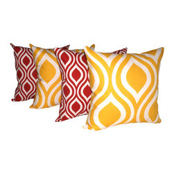 Land of Pillows - Premier Prints Nicole Lipstick and Emily Corn Yellow Ogee Throw Pillow - 4 Pack - Fabric Designer - Premier Prints