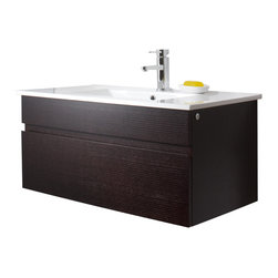 VIGO Industries - VIGO 35-inch Single Bathroom Vanity, Wenge, Without Extras - This quality VIGO bathroom vanity will allow you to start and end your day right. No other brand can match VIGO's style, quality and design.