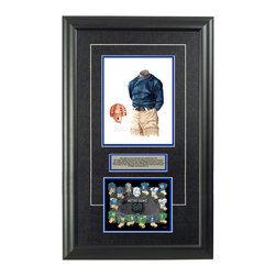 """Heritage Sports Art - Original art of the NCAA 1912 Notre Dame Fighting Irish uniform - This beautifully framed NCAA football piece features an original piece of watercolor artwork glass-framed in an attractive two inch wide black resin frame with a double mat. The outer dimensions of the framed piece are approximately 17"""" wide x 28"""" high, although the exact size will vary according to the size of the original piece of art. At the core of the framed piece is the actual piece of original artwork as painted by the artist on textured 100% rag, water-marked watercolor paper. In many cases the original artwork has handwritten notes in pencil from the artist. Simply put, this is beautiful, one-of-a-kind artwork. The outer mat is a rich textured black acid-free mat with a decorative inset white v-groove, while the inner mat is a complimentary colored acid-free mat reflecting one of the team's primary colors. The image of this framed piece shows the mat color that we use (Medium Blue). Beneath the artwork is a silver plate with black text describing the original artwork. The text for this piece will read: This original, one-of-a-kind watercolor painting of the 1912 Notre Dame Fighting Irish uniform is the original artwork that is to be used in the creation of products like this Notre Dame Fighting Irish uniform evolution print and thousands of other Notre Dame Fighting Irish products to be sold across North America. This original piece of art was painted by artist Nola McConnan for Maple Leaf Productions Ltd. Beneath the silver plate is a 6.5"""" x 7"""" reproduction of a uniform evolution print that celebrates the history of the team. The print beautifully illustrates the chronological evolution of the team's uniform and shows you how the original art was used in the creation of this print. If you look closely, you will see that the print features the actual artwork being offered for sale. The 6.5"""" x 7"""" print is shown above. The piece is framed with an extremely high quality fra"""