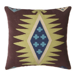 "Horchow - Brown ""Aztec"" Pillow - We love decorative pillows for their ability to quickly refresh a room and pull it all together. Stunning in shades of citrine, brown, and blue, these Aztec-motif pillows steal the spotlight as they add a distinctly tribal vibe. Woven wool face; polyes..."