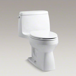 KOHLER - KOHLER Santa Rosa(TM) Comfort Height(R) one-piece compact elongated 1.28 gpf toi - This Santa Rosa toilet's one-piece design adds a contemporary look to your bathroom environment while conserving space with a compact elongated bowl. Its 1.28-gallon high-efficiency flush provides significant water savings of up to 16,500 gallons per year, versus an old 3.5-gallon toilet, without sacrificing performance. A chair-height, elongated seat makes it comfortable to use.