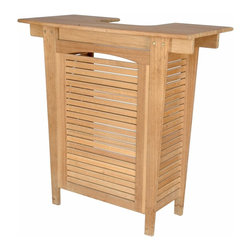Anderson Teak - Montego Bar Table - This Montego bar table is FANTASTIC!!! Its classic look with wine bottle holder will make your patio/backyard shinier than ever. Also, it has plenty of room for glasses and table top to mix all the drinks as well. Bar table only, chairs are not included.