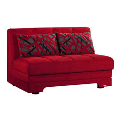 Istikbal - Twist Loveseat Sleeper in Story Red - The adorable and conventional Twist Loveseat Sleeper in Story Red features a built-in storage unit and ready to use sleek loose pillows. A visually intriguing body of the love seat sleeper is built to last a lifetime. Minimal assembly required.