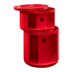 East End Imports - Orbit Storage Module in Red - Now you see it, now you don't. In a perfect blend of visual effects and sliding hatches, Orbit shows you why decor shouldn't end with the trash can. Whether for your recyclables or not, the compact cylindrical design imparts a sense of futurism to your room. Made of resilient ABS plastic, complete your modern home or office with a contemporary piece that livens up even the most basic of utilities.