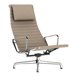"""Herman Miller - Herman Miller Eames Aluminum Lounge Chair with Headrest - Fabric - When you're asked if your leather lounge chair is similar to the one featured in the permanent collection of the Museum of Modern Art, a humble nod is all that's required. A quiet affirmation to say, """"Yes, it's an Eames,"""" which in layman's terms means it looks and feels good."""