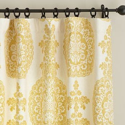 "Lucianna Medallion Drape, 50 x 63"", Gold - Inspired by a 15th-century silk damask, this drape adds a lofty look to the room. 50"" wide; available in four lengths Made from a linen/cotton blend. Lined with cotton. Hangs from the pole pocket or converts to ring-top style with the included drapery hooks. Use with Clip Rings (sold separately). Detailed with a blind-stitched hem. Dry-clean for best results. Catalog / Internet only. Imported."