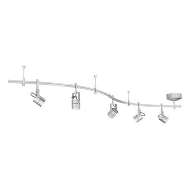 Tech Lighting - Five-Light Rail Kit with Focus Heads - 800RAL5FCN - Combining a fresh matte nickel finish and modern focus fixture heads, this rail kit is the perfect choice for updating tired decor. It is easy to install and comes complete with everything you need. Each rail section is bendable, allowing you to reach out from your electrical junction box in any direction. The fixture heads may be placed anywhere on the rail and pivot vertically and horizontally. Each kit includes five fixture heads, five 20-watt MR16 bulbs, three 36-inch bendable rail sections, one power feed with integrated 12 volt transformer, two rail connectors, two end caps and three 3-inch rigid standoffs. May be dimmed with a standard incandescent dimmer. Takes (5) 20-watt halogen MR-16 bulb(s). Bulb(s) sold separately. Dry location rated.