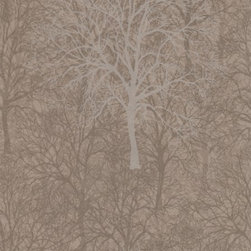Graham and Brown - Mode Wallpaper - Enchant Pattern - in Golden Brown - Designed by Array. Part of the Mode Collection. Manufactured in England. The width of the largest tree is 12 inches wide and it is 19 inches in height.  Timeless elegance personified, a beautiful overlaid tree design with iridescent highlights creates a real masterpiece for your wall.