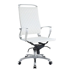 Modway - Modway EEI-232 Vibe Office Chair in White - Instill some panache to your office with a chair that says it all. Vibe's modern style reverberates from start to finish. From its diamond patterned leather seat and back, to its high polished chrome frame, if ever there was a chair that turned seating into an artform it would be Vibe.