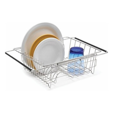 POLDER - Stainless Steel Dish Rack - This space-saving rack is ideal for apartment kitchens with minimal countertop area as it allows dishes to drip dry right over the sink. Made of rust-proof stainless steel, this dish rack has two extendable arms that balance it over any sink.
