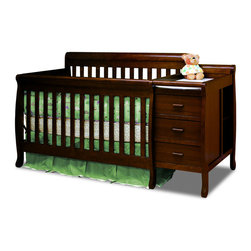 AFG Baby Furniture - Kimberly Convertible Crib And Changer Espresso - A versatile concoction of the popular crib and changer, the Kimberly 3 in 1 Convertible Crib and Changer Combo combines both elements into one piece of furniture that serves as the perfect baby station for the space-conscious family. This beautiful and durable crib is made from solid pine hardwood and an easy-to-care non-toxic finish.