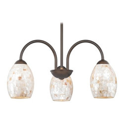 Design Classics Lighting - Chandelier with Mosaic Glass in Bronze Finish - 592-220 GL1034 - Mosaic glass neuvelle bronze 5-light chandelier with oblong shades. Takes (3) 100-watt incandescent A19 bulb(s). Bulb(s) sold separately. UL listed. Dry location rated.