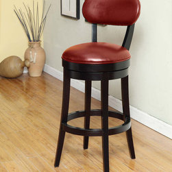 Armen Living - Roxy 26in. Swivel Barstool in Red Bicast Leather - The incomparably chic look of the Roxy Swivel Barstool in red bicast leather is sure to elevate the design element in your home. Nailhead accents on the outside back add virulent value to sophisticated style. Assembly required.