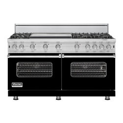 """Viking 60"""" Pro-style Gas Range, Black Natural Gas   VGCC5606GBK - This range is essentially two of the existing 30"""" VGCC ranges in one 60"""" unit. This is the first 24"""" deep 60"""" wide all gas range we have ever offered."""