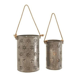 "Benzara - Beautiful Metal Galvanized Lantern - Set of 2 - Beautiful Metal Galvanized Lantern - Set of 2. Elegant and attractive, this beautiful metal Galvanized lantern is designed with great finesse and makes for an elegant addition to casual setups. It comes with following dimensions: 8""W x 8""D x 12""H. 6""W x 6""D x 10""H."