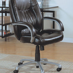 "Monarch - Dark Brown Leather Look Office Chair - This beautiful office chair will add both style and comfort to your home office. The plush chair back and seat are covered in a rich dark brown leatherette for comfortable seating, with a baseball stitch and elegantly curved padded metal arms for a distinctive look. An adjustable height gas lift allows you to customize the fit, with casters below the sleek silver metal base for easy mobility.; Assembly required; Weight: 37.88 lbs; Dimensions: 28""L x 30""W x 43""H"