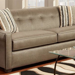 Chelsea Home - Brittany Upholstered Sofa - Includes toss pillows. Transitional style. Medium seating comfort. Zippered cushions. Reinforced 16-gauge border wire sinuous springing system to maintain uniform seating. Double springs on the ends nearest the arms to give balance in the seating. Hi-density foam cores cushion with Dacron polyester wrap to provide longer life. Stress points are reinforced with blocks to secure a long lasting frame. Stoked pewter cover. 32 % poly and 68 % PP fabric. Solid kiln dried hardwoods and engineered wood frames. Made in USA. No assembly required. 82 in. L x 37 in. W x 35 in. H (125 lbs.)