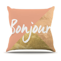 "Kess InHouse - KESS Original ""Bonjour Gold"" Metallic Throw Pillow (Outdoor, 26"" x 26"") - Decorate your backyard, patio or even take it on a picnic with the Kess Inhouse outdoor throw pillow! Complete your backyard by adding unique artwork, patterns, illustrations and colors! Be the envy of your neighbors and friends with this long lasting outdoor artistic and innovative pillow. These pillows are printed on both sides for added pizzazz!"