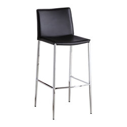 J&M Furniture - Fixed Black C065-3 Barstool (Set of 2) - Complement the modern style of your home bar, kitchen island, or pub table with this stylish C065-3 Fixed Black Barstool by M Furniture. Available in Black, Brown, and White Leather. The mix of chrome and leather is essential for the contemporary design to be in evidence.