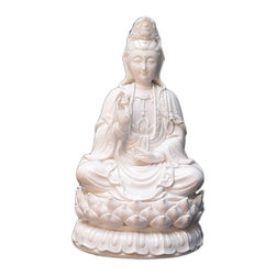 """Golden Lotus - Chinese White Porcelain Kwan Yin Goddess of Mercy Statue - Dimensions:   7""""x  6""""x  h13.25"""""""