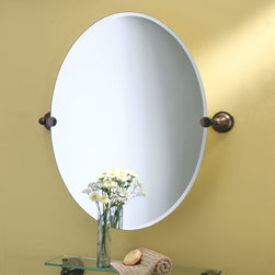 Tiara Oval Tilting Mirror - The artful placement of Tiara mounting brackets makes this refined oval mirror appear weightlessly suspended in your home.