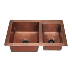 PolarisSinks - Polaris P109 Double Offset Bowl Copper Sink - Our handcrafted copper sinks add warmth and richness to a variety of decors. Our line of copper sinks come in a hammered finished with a beautifully aged patina. The Hammered finish will help hide small scratches that may occur over the lifetime of the sink. Copper is a naturally antibacterial and will not rust or stain, making it low maintenance. Each sink is fully insulated with sound dampening pads. Our copper sinks are covered by a limited lifetime warranty. Each sink comes with a cardboard cutout template and mounting hardware.
