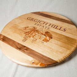 "Wine Crate Lazy Susan with Inlay- Grgich Hills - Wine Crate Lazy Susans available in 16"", 18"", 20"" and 22"" diameters.  Various wineries available from locales worldwide."