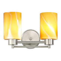 Design Classics Lighting - Satin Nickel Modern Bathroom Light with Brown Art Glass - 702-09 GL1022C - Contemporary / modern satin nickel 2-light bathroom light. Takes (2) 100-watt incandescent A19 bulb(s). Bulb(s) sold separately. UL listed. Damp location rated.