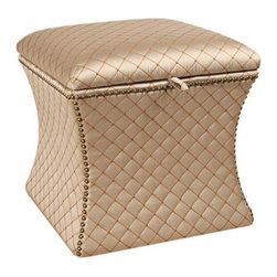 Legacy Quilted Ottoman - This elegant and silky champagne-colored fabric reminds me of a classy ballet recital. I really like that this piece is multifunctional: The top opens to reveal some secret storage space for blankets or other household items. It would work perfectly at a vanity desk or in your bathroom.