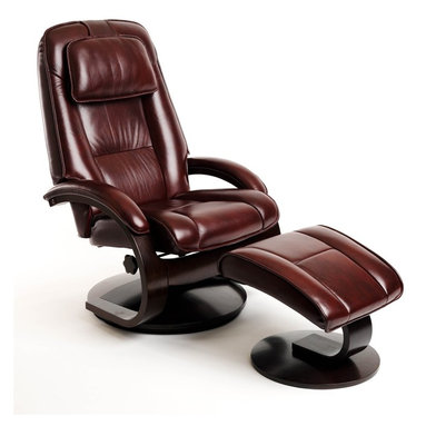 """Mac Motion - Mac Motion Oslo 52 Series Leather Swivel Recliner and Ottoman Set in Merlot - Leather Swivel Recliner & Ottoman belongs to Oslo Collection Collection by Mac Motion This high quality Norwegian design chair with matching ottoman comes from our popular """"Oslo Collection"""" and consists of selective hardwoods, bent arm frame complimented by wrap around seat and back cushion with adjustable headrest attached. Features include 360 degree parameter swivel for stable setting and adjustable reclining back which is personalized by one single handle to any position. Matched to contoured angled ottoman to complete the therapy seating of full body personalized comfort. All """"Oslo Collection"""" models include """"MX-2"""" memory foam, with 1"""" over the top of the solid cored foam seating for support and long lasting comfort. This model is covered in """"Top-Grain"""" leather everywhere you touch in a deep smoker type """"Merlot"""" color to match the """"Alpine"""" deep wood finish frame. Complemented by the matching ottoman, this is one of our best sellers.  Chair (1), Ottoman (1)"""