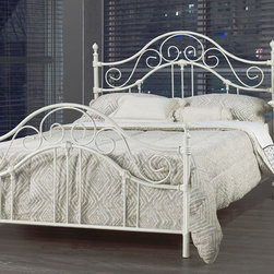 "Bella White Wrought Iron Queen Bed Frame - Bella White Wrought Iron Queen Bed Frame features lovely scroll detail, tall head board with matching foot board, metal steel side rails that bolt on. Requires a box spring. Some assembly required. Dimensions: 81""L x 61""W x 48""H"