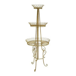IMAX CORPORATION - Alston Oversized Plant Stand - The beautiful, Victorian style Alston Oversized Plant Stand will add dimension to your greenery season after season. With a warm gold finish and three tiers it is the perfect display for cascading potted plants or add color with brightly colored blooms. Find home furnishings, decor, and accessories from Posh Urban Furnishings. Beautiful, stylish furniture and decor that will brighten your home instantly. Shop modern, traditional, vintage, and world designs.