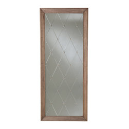 Arteriors Diamonte Wood Etched Studded Mirror by Barry Dixon - Arteriors Diamonte Wood Etched Studded Mirror by Barry Dixon. Weathered Oak, Antiqued Silver Studs, and Plain Mirror. L: 84'' x W: 35.5'' x D: 2''