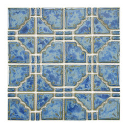 None - SomerTile 11.75x11.75-in Luna Pacific Blue Porcelain Mosaic Tile (Pack of 10) - Use these glazed porcelain mosaic tiles to improve the functionality of places like your shower or areas characterized by light foot traffic. The contemporary blue pattern is attractive and timeless. The price includes 10 glossy pieces.