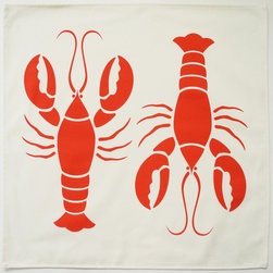 Wabisabi Green - Lobster Eco Napkins, Coral Red/Cream, Set of 4 - Add a little coastal charm to your place settings with these napkins. A bright red lobster is hand-printed on an ecofriendly blend of organic cotton and recycled polyester.