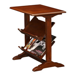 Leick Furniture - Leick Furniture Layered Library Table in a Brown Cherry Finish - Leick Furniture - End Tables - 10076 - Compact Condo/Apartment Scale library end table made of  solid hardwoods and cherry wood veneers